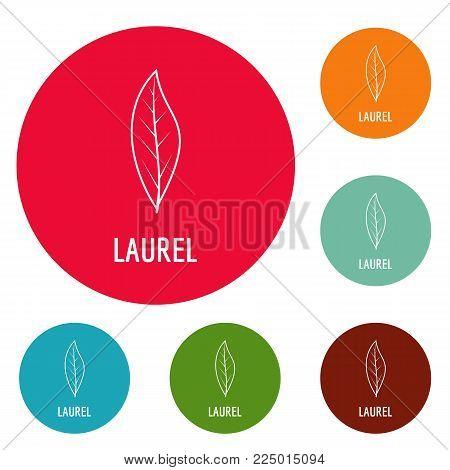 Laurel leaf icons circle set vector isolated on white background