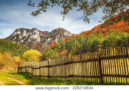 Autumn landscape with rocks in Sulov, Slovakia, Europe.