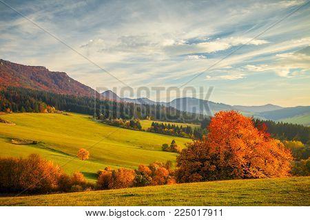 Colorful landscape in autumn, National Nature Reserve Sulov Rocks, Slovakia.