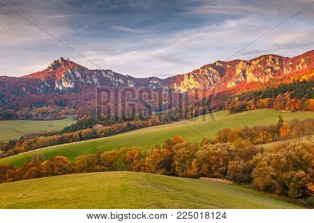 Autumn landscape with rocks in Sulov at sunset, Slovakia, Europe.