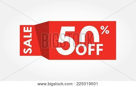50% Off. Sale And Discount Tag With 50 Percent Or Half Price Off Icon. Vector Illustration.
