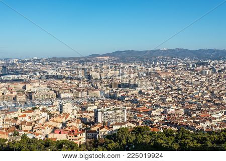 Marseille, France - December 4, 2016: Aerial panoramic view of Marseille from basilica of Notre Dame de la Garde in Marseille, Provence, France.