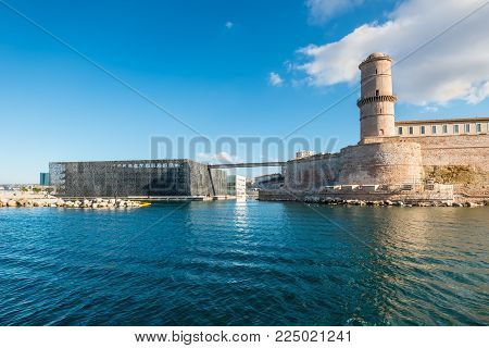 Marseille, France - December 4, 2016: The Museum of European and Mediterranean Civilisations (MuCEM) and Fort Saint-Jean view in Old Port of Marseille, Provence, France.