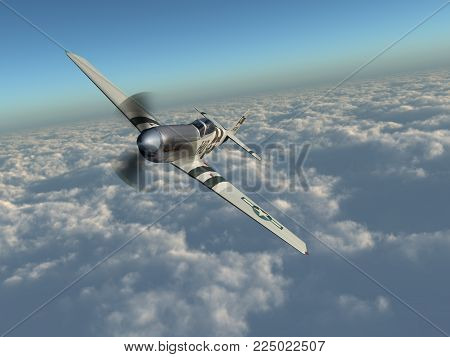 Computer generated 3D illustration with an American fighter plane of World War II over the clouds