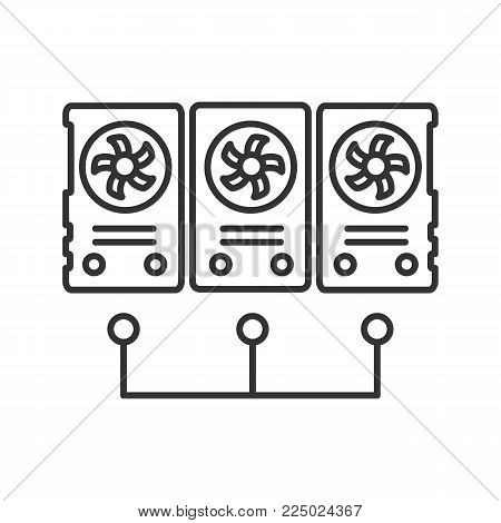 Graphic cards for mining business linear icon. Thin line illustration. Connected video cards. Cryptocurrency gpu mining farm. Contour symbol. Vector isolated outline drawing