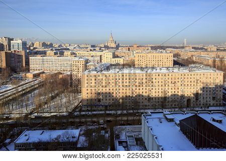 MOSCOW/ RUSSIA - JANUARY 25, 2017. Panoramic view of the South-Western district of Moscow in winter. View of the Vavilova street. Moscow, Russia