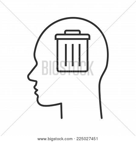 Trash can inside human head linear icon. Delete profile. Thin line illustration. Mess in head. Contour symbol. Vector isolated outline drawing