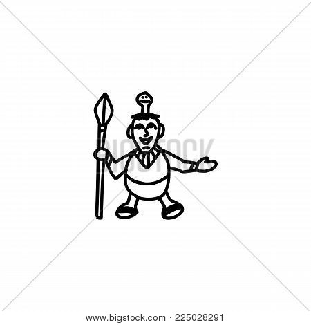 Doll aztec cartoon icon isolated on white background
