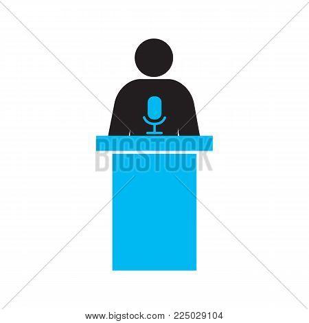 Politician silhouette icon. Orator speech. Speaker podium. Isolated vector illustration