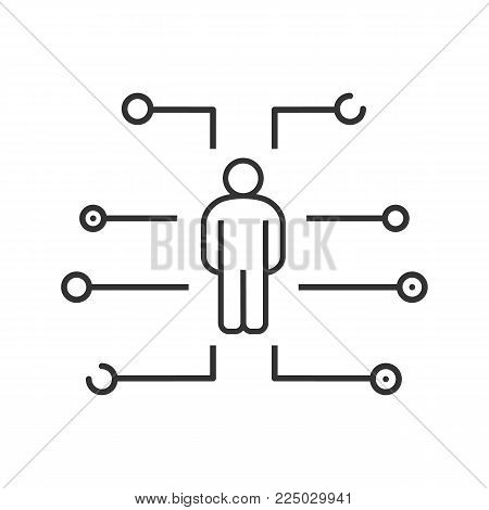 User profile linear icon. Thin line illustration. Account login. Digital support. Contour symbol. Vector isolated outline drawing