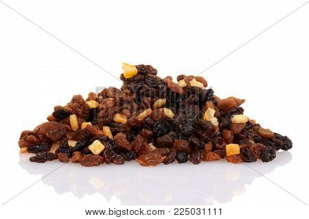pile of raisins currants and sultanas with mixed candied peel
