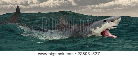 Computer generated 3D illustration with a great white shark in the stormy sea