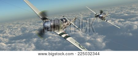 Computer generated 3D illustration with two American fighter planes of World War II over the clouds