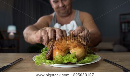Bad-mannered overweight man tearing piece of chicken with hands, overeating, stock footage