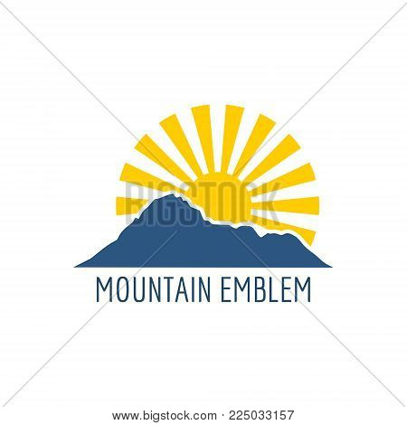 Mountain silhouette. Minimal abstract emblem template. Outdoor icon of the mountain tops. Camping mountain logo, travel labels, climbing or hiking badges.