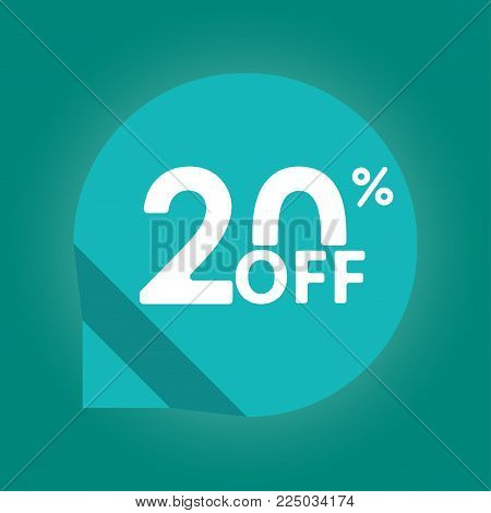 20% Off. Sale And Discount Tag With 20 Percent Price Off Icon. Vector Illustration.