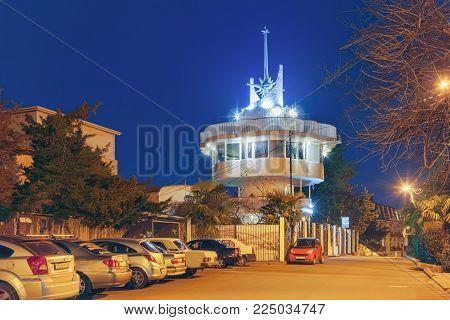 SOCHI, RUSSIA - FEBRUARY 2, 2018: Observation tower at night illumination.
