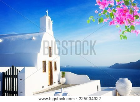 beautiful details of Santorini island - typical house with white walls and blue sea Greecer with flowers