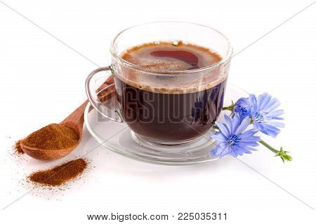 Chicory Drink And Chicory Flower Isolated On White Background.