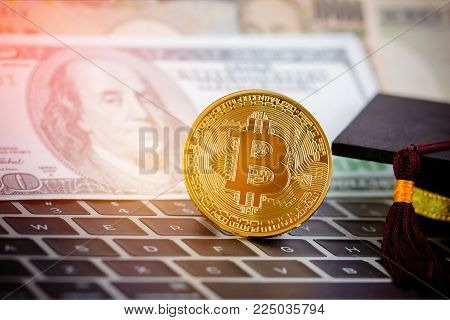 Bitcoin Cryptocurrency and Blur foreign money US dollars, JPY money with International Graduation cap on keyboard. Bitcoin is modern of Exchange Digital payment, Education certificate of Abroad program.