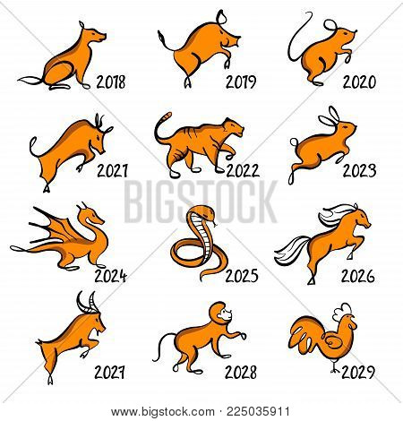 Set of twelve chinese year lunar zodiac horoscope symbols. Silhouette animal sketch vector illustration. Year number text near.