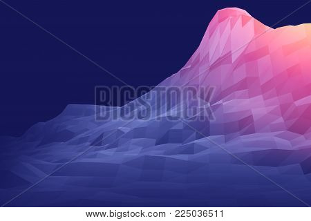 3D rendering of mountain futuristic low poly geometry landscape abstract for background
