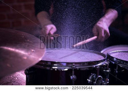 Professional Drum Set Closeup. Drummer With Drums.