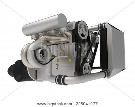 A turbocharged four-cylinder, high-performance engine for a sports car. 3d rendering