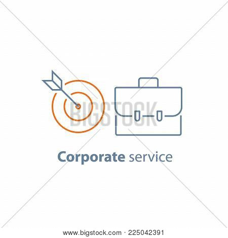Fund management, long term investment return, financial security, corporate finance, business solution, portfolio performance analysis, vector line icon thin stroke