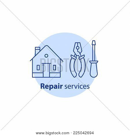 House repair services, home improvement equipment and maintenance concept, pliers and screwdriver tools, vector line icon