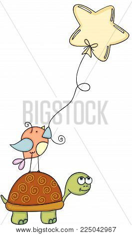 Scalable vectorial representing a happy turtle with bird holding star shaped balloon, children's illustration for your design isolated on white background.