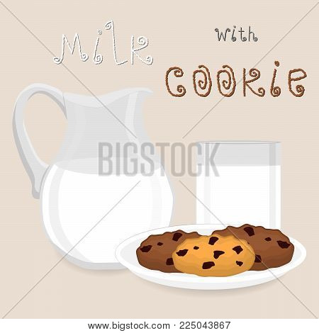 Vector icon illustration logo for pile homemade cookies, shortbread biscuit, glass jug of white milk. Cookie pattern consisting of Jug, sweet french dessert milks biscuits. Eat tasty chocolate cookie.