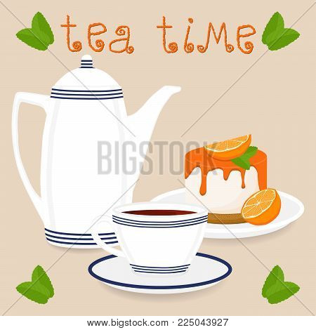 Vector illustration logo for ceramic cup, white teapot, teacup on saucer, orange cheesecake. Teacup pattern of tea brewed in porcelain cups, teapot, cheesecakes. Drink teas in teacups from teapots.