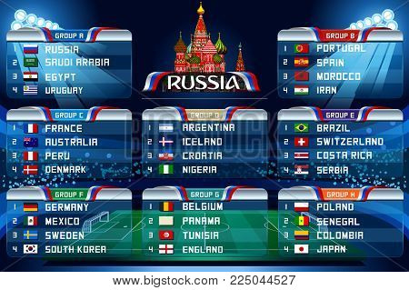 Football World cup groups. Vector flag collection. soccer world tournament in Russia. World football cup. Nations flags info graphic. Set of different flags illustration.