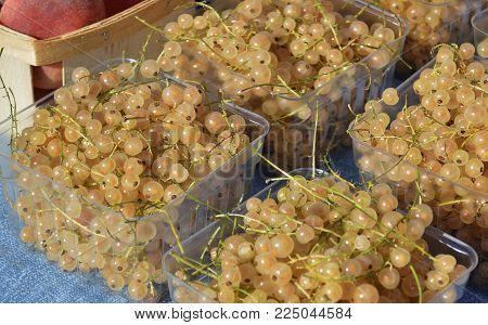 White Currants Fruit For Sale In Baskets