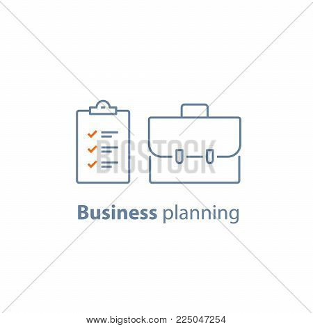 Mutual fund management, financial security, corporate finance, portfolio performance analysis, insurance policy clipboard, checklist vector line icon thin stroke