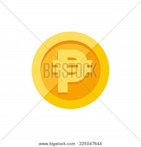 Philippine peso currency symbol on gold coin, money sign flat style vector illustration isolated on white background