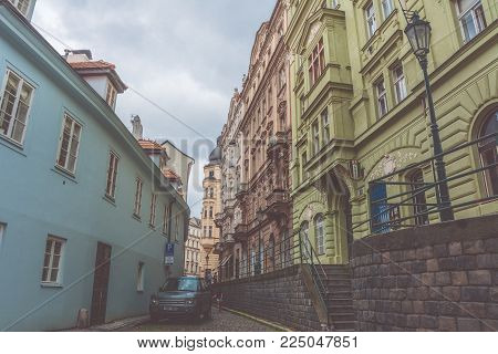 Prague, Czech Republic - June 4, 2017: Vintage photo of Prague Street, Bohemia