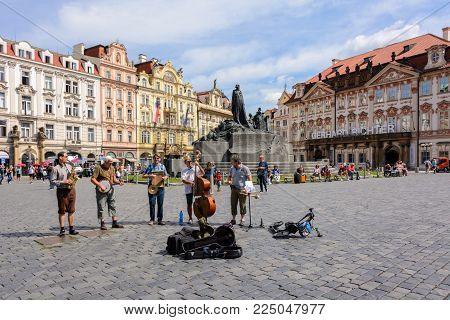 Prague, Czech Republic - June 5, 2017: Musicians on Old Town Square, the main square of Prague, Bohemia