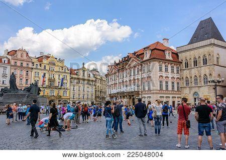 Czech Republic, Prague - June 5, 2017: Old Town Square, Prague's main square, Bohemia