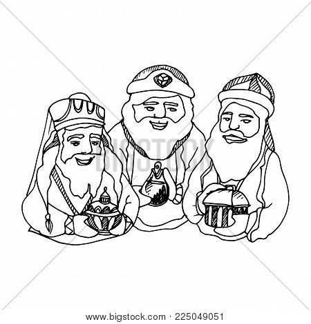 Black Mono Color Illustration for Merry Christmas and Happy New Year Print Design. Three King. Three Wise Men with Gifts