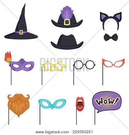 Colorful set with different carnival masks and hats. Decorative witch cap, glasses, beard, lips, speech bubble, cat ears and bow tie. Accessories for party and masquerade. Cartoon flat vector design.