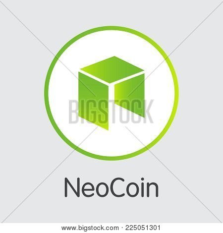 Neo - Vector Icon of Virtual Currency. Criptocurrency Blockchain Icon on Grey Background. Virtual Currency. Vector Trading sign: Neo.