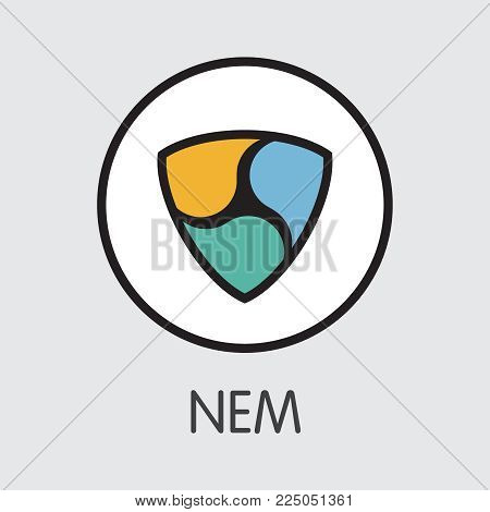 Neweconomymovement NEM - Criptocurrency Blockchain Icon on Grey Background. Virtual Currency. Vector Trading sign: NEM.