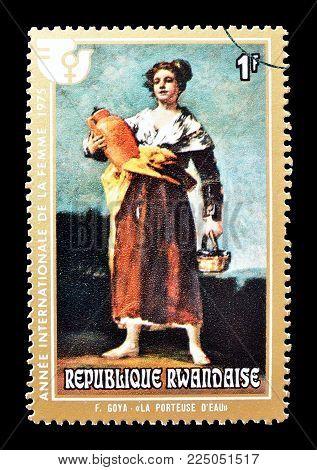RWANDA - CIRCA 1975 : Cancelled postage stamp printed by Rwanda, that shows painting by Goya.