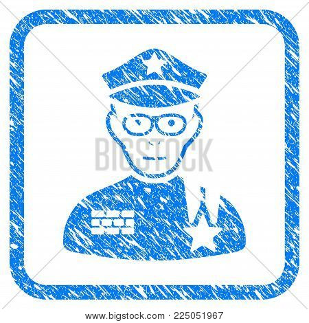 Army General rubber seal stamp imitation. Icon vector symbol with grunge design and dust texture in rounded frame. Scratched blue sticker on a white background.