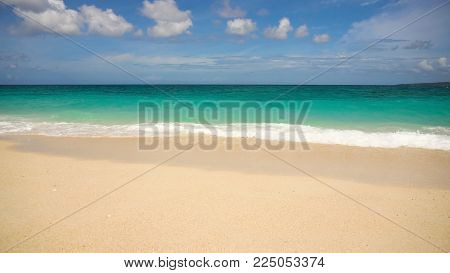 Beach, sea, sand, wave. Tropical beach, blue sky, clouds. Seascape ocean and beautiful beach paradise.Philippines Boracay Travel concept