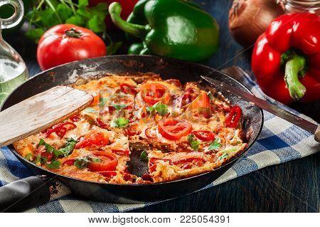 Frittata Made Of Eggs, Sausage Chorizo, Red Pepper, Green Pepper