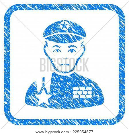Army General rubber seal stamp watermark. Icon vector symbol with grunge design and dust texture inside rounded squared frame. Scratched blue sign on a white background.