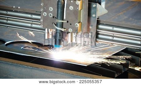 Industrial Plasma Machine Cutting Of Metal Plate. Clip. Cutting Metal Plates Gas Cutting. Steel Plat